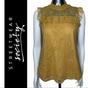 Streetwear Society Yellow Lace Top Front Lined